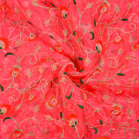 Pink Green Floral Organza Embroidery Fabric-22159