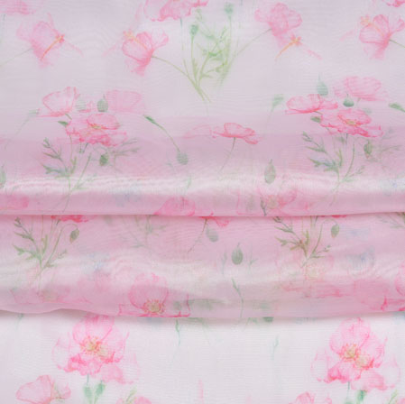 Pink Green Floral Organza Silk Fabric-22096