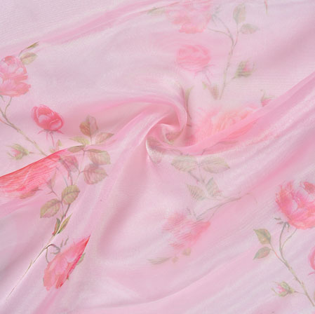 Pink Green Floral Organza Silk Fabric-22101