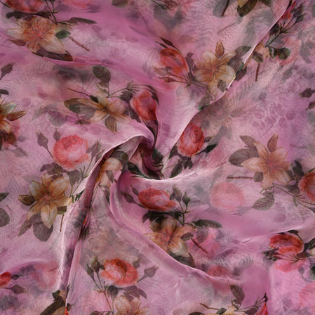 Pink Green Floral Organza Silk Fabric-22123