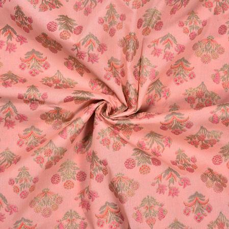 Pink Green Flower Cotton Foil Print Fabric-28321