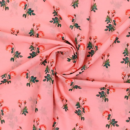 Pink Green Flower Georgette Silk Fabric-15249
