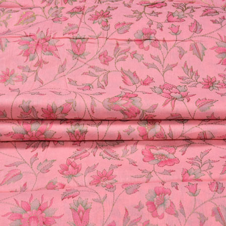 Pink Green Flower Jam Cotton Print Fabric-28204