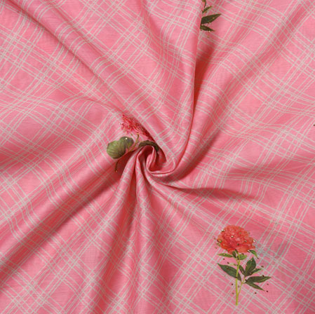 Pink Green Flower Tusser Foil Print Fabric-28209