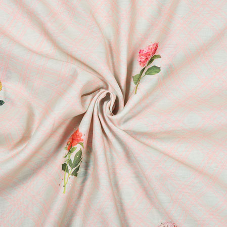 Pink Green Flower Tusser Foil Print Fabric-28210