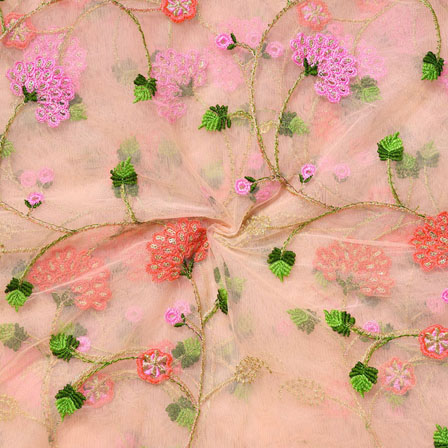 Pink Green Net Embroidery Silk Fabric-18729