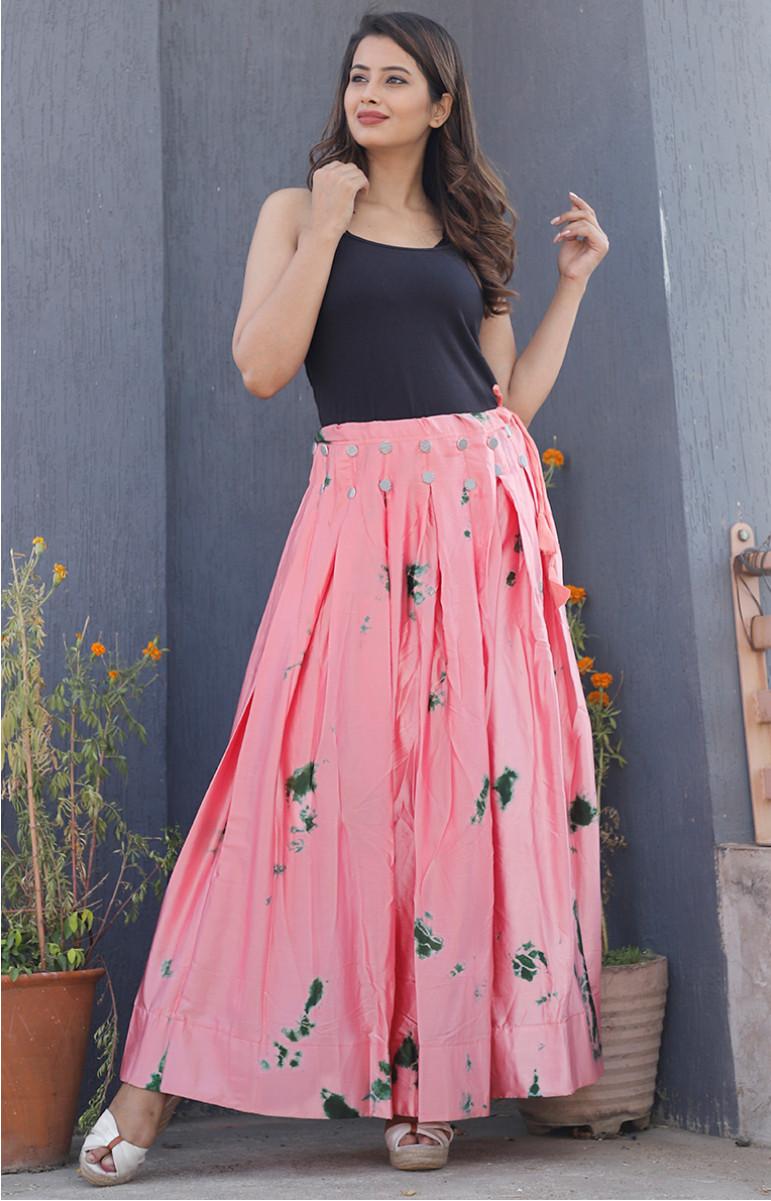 Pink Green Satin Batik Lehenga-34233-(Free Size)