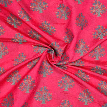 Pink Green Tree Brocade Banarasi Silk Fabric-12843