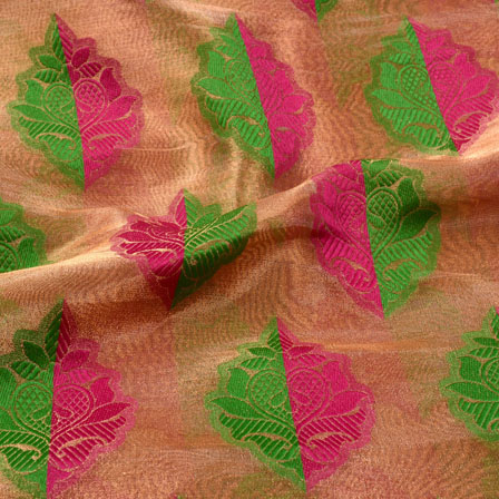 Pink-Green and Beige leaf Pattern Brocade Silk Fabric-5392