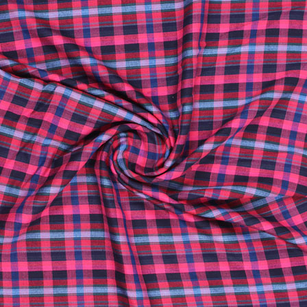 Pink Green and Blue Check Handloom Khadi Cotton Fabric-40464