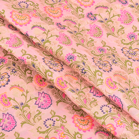 Pink-Green and Blue Floral Digital Brocade Fabric-24074