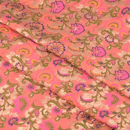 Pink-Green and Blue Floral Digital Brocade Fabric-24078
