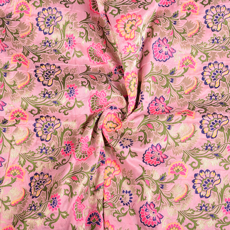 Pink-Green and Blue Floral Silk Digital Brocade Fabric-8392