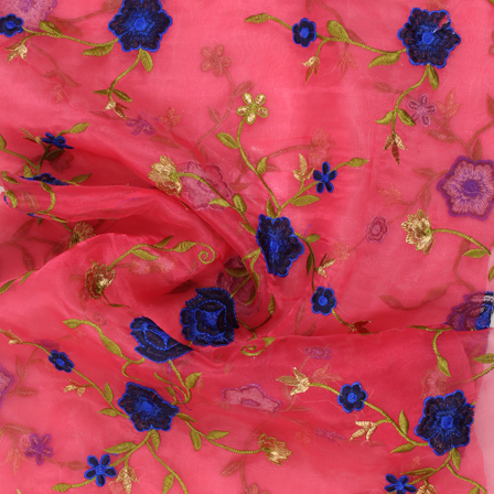 Pink-Green and Blue Flower Organza Embroidery Fabric-51432