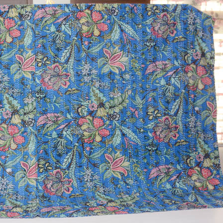 Pink-Green and Blue Handmade Flower Pattern Kantha Quilt-4331