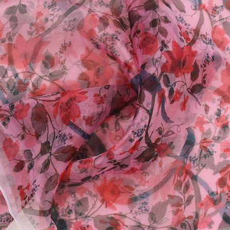 Pink Green and Brown Digital Organza Silk Fabric-51574