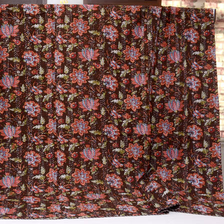 Pink-Green and Brown Handmade Floral Pattern Kantha Quilt-4376