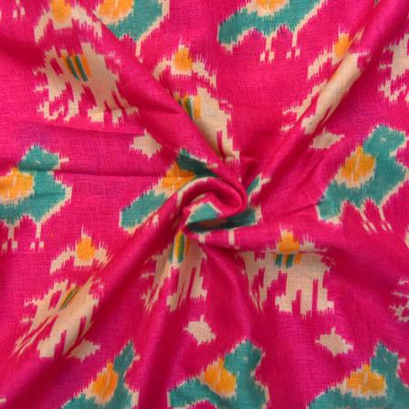 Pink-Green and Cream Elephant Design Kalamkari Manipuri Silk-16060