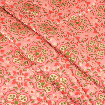 Pink-Green and Golden Digital Brocade Fabric-24087