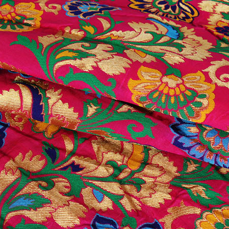 Pink Green and Golden Floral Banarasi Silk Fabric-9442