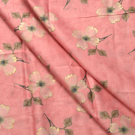 Pink-Green and Golden Flower Design Jam Cotton Silk Fabric-75001