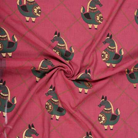Pink-Green and Golden Rayon Slub Fabric-75087