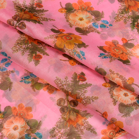Pink-Green and Orange Flower Design Silk Organza Fabric-51072