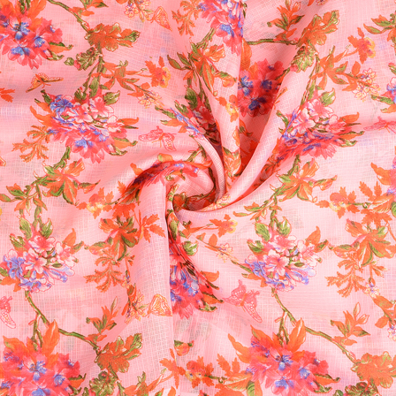 Pink-Green and Orange Flower Kota Doria Fabric-25114