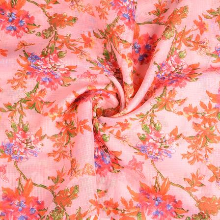 Pink-Green and Orange Flower Kota Doria Fabric-25114