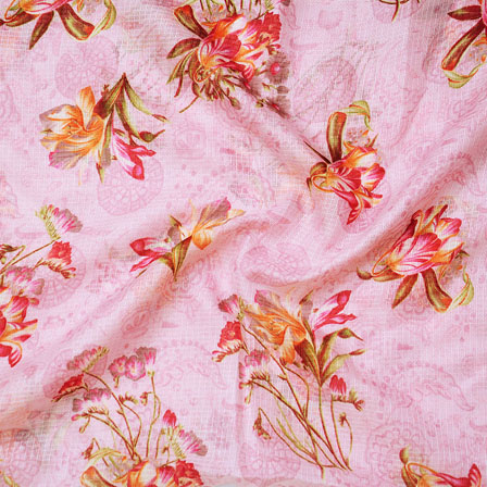 Pink Green and Orange Flower Kota Doria Fabric-25130