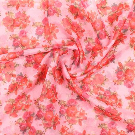 Pink Green and Orange Flower Organza Digital Silk Fabric-51499