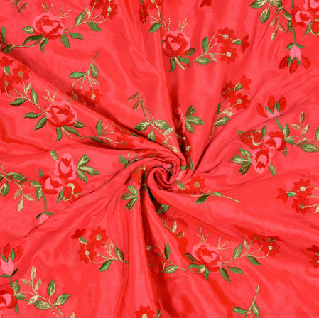 Pink Green and Red Floral Chinon Embroidery Silk Fabric-19020