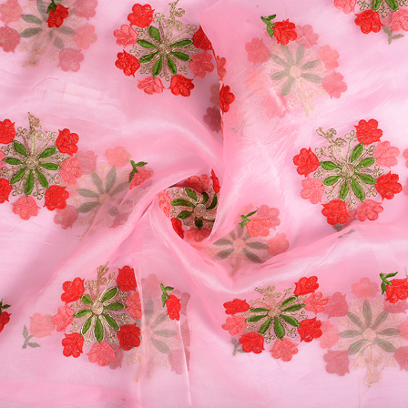 Pink-Green and Red Flower Organza Embroidery Fabric-51133