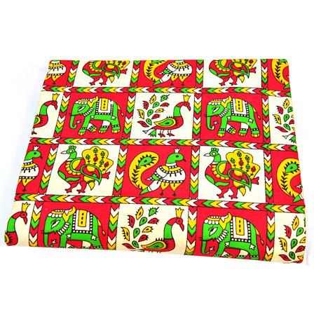 Pink-Green and Yellow Elephant Design Kalamkari Cotton Fabric-5809