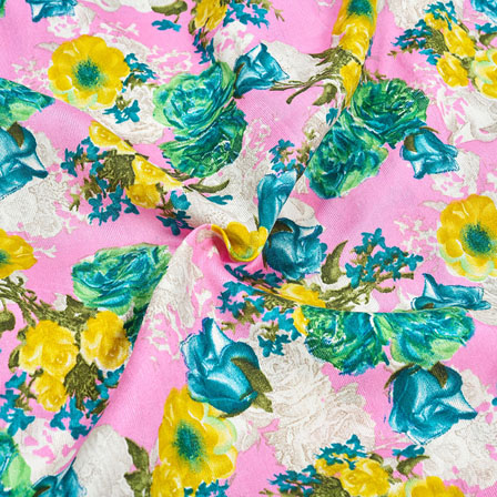 Pink Green and Yellow Floral Banglori Silk Fabric-12367