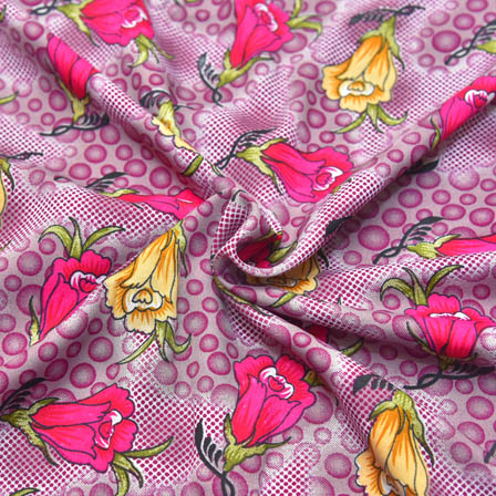 Pink-Green and Yellow Flower Design Crepe Fabric-18037
