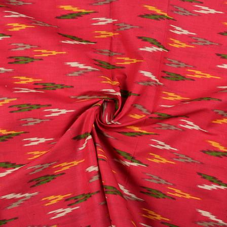 Pink-Green and Yellow Ikat Print Cotton Kalamkari Fabric-10128