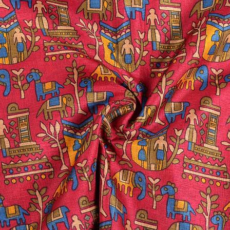 Pink-Green and Yellow Kalamkari Manipuri Silk Fabric-16290