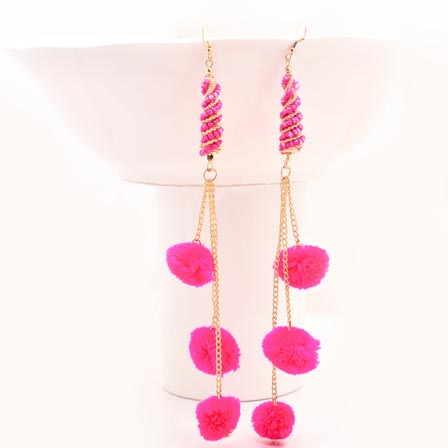 Pink Handcrafted Pom Pom Fabric Drop Earring for Women