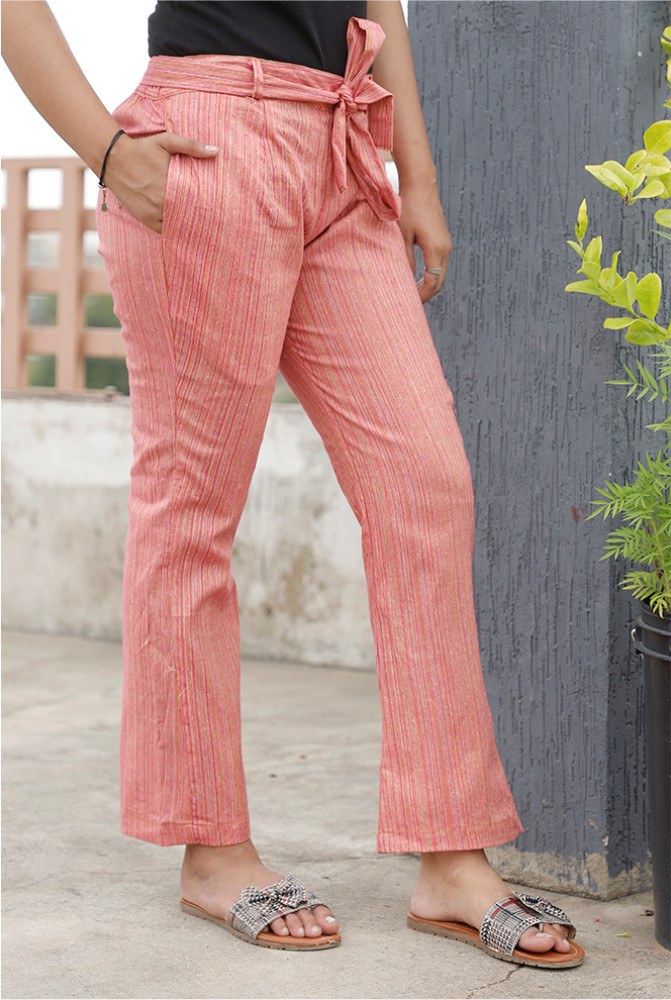 Pink Handloom Cotton Texture Narrow Pant with Belt-33896