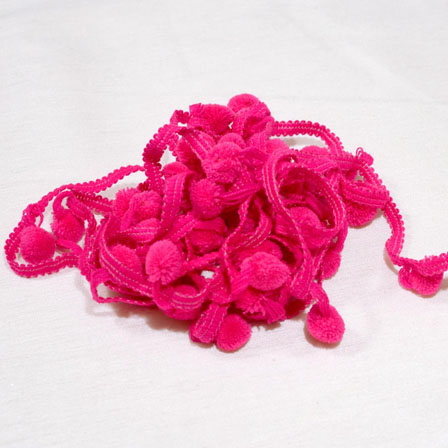 9 MTR Roll of Pink Indian Traditional Pom pom Lace-4063