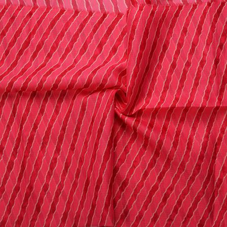 Pink Lehariya Design Kota Doria Fabric-25049