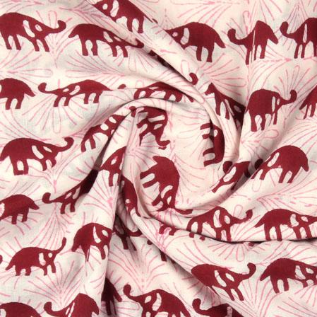 Pink Maroon Block Print Rayon Fabric-16160
