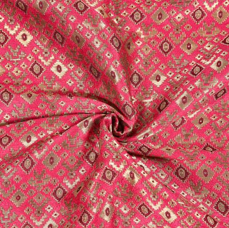 Pink Maroon Brocade Silk Floral Fabric-12971