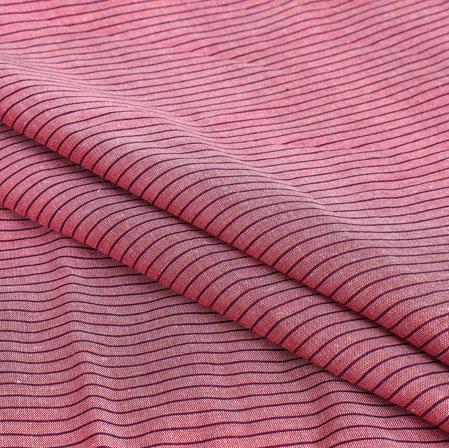 Pink Maroon Stripe Handloom Cotton Fabric-40909