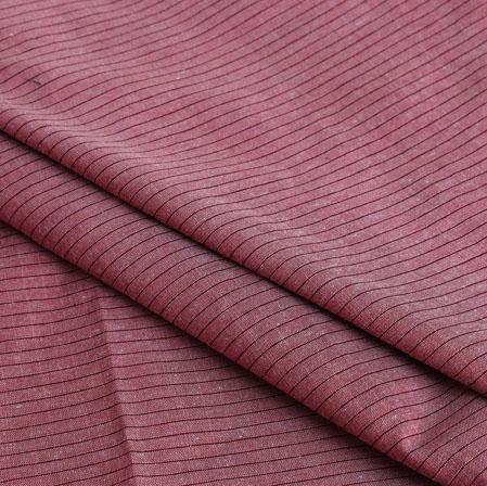 Pink Maroon Stripe Handloom Cotton Fabric-40910