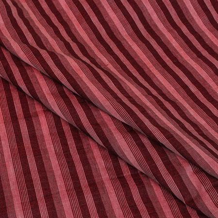 Pink Maroon Stripe Handloom Cotton Fabric-40934