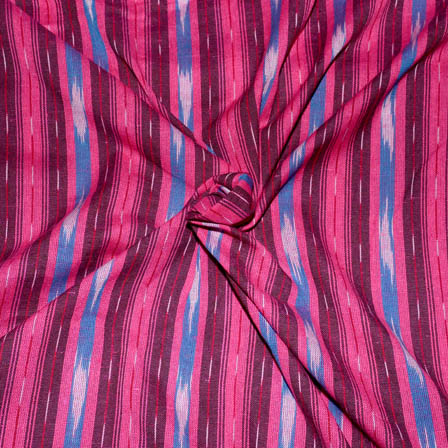 Pink-Maroon and Blue Lining  Design Ikat Fabric-5689