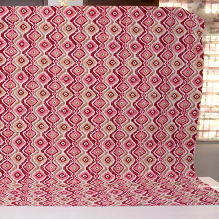 Pink-Maroon and Cream Indian Handmade Kantha Quilt-4347