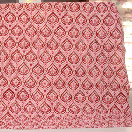 Pink-Maroon and White Indigo Design Kantha Quilt-4321
